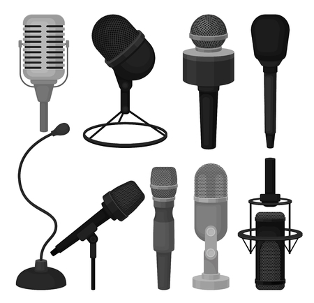Flat vector set of microphones. Professional dynamic and condenser mics. Equipment for recording voice Çizim