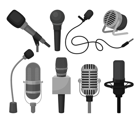 Collection of different microphones. Professional sound recording equipment. Dynamic and condenser mics. Audio technology theme. Colorful vector icons in flat style isolated on white background. Çizim