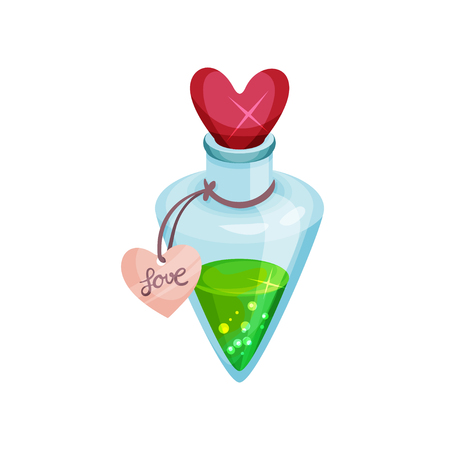 Small bottle with love potion, shiny lid in shape of heart. Magic elixir. Container with bright green liquid and label. Colorful flat illustration isolated on white background. Cartoon vector design.