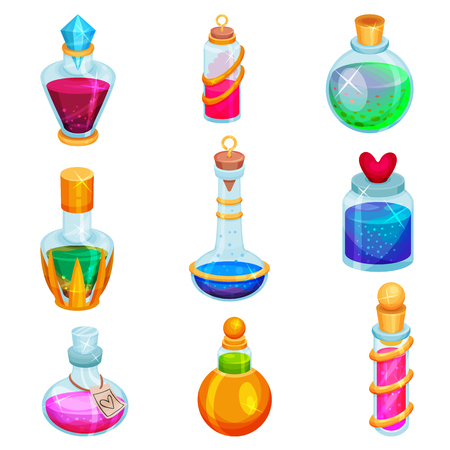 Set of small bottles with potions. Different glass vials with magic elixirs. Toxic liquids. Graphic elements for mobile game. Flat illustration isolated on white background. Cartoon vector design. Ilustração