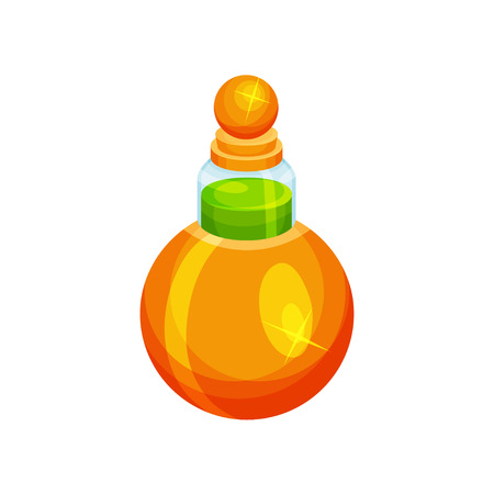 Icon of small round-shaped bottle with potion. Green liquid in glass container. Magic elixir. Element for mobile game. Cartoon vector design. Colorful flat illustration isolated on white background. Ilustração