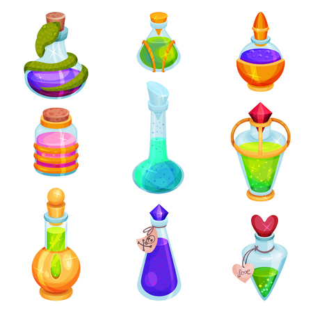 Collection of different small bottles with potions. Glass vials with colorful liquids. Magic elixirs. Graphic element for mobile game. Cartoon vector icons. Flat design isolated on white background.