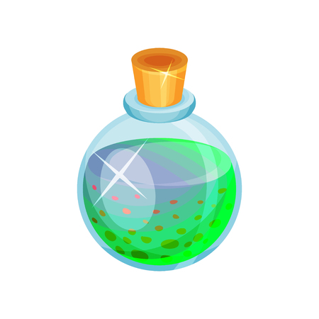 Illustration of round glass bottle with potion. Toxic blue-green liquid. Magic elixir. Graphic element for mobile game. Cartoon vector design. Colorful icon in flat style isolated on white background.