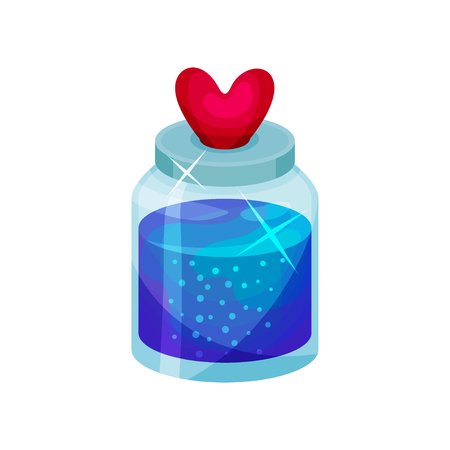 Love potion in small bottle with lid in shape of heart. Bright blue liquid. Magic elixir. Graphic design for children book or mobile game. Cartoon flat vector illustration isolated on white background