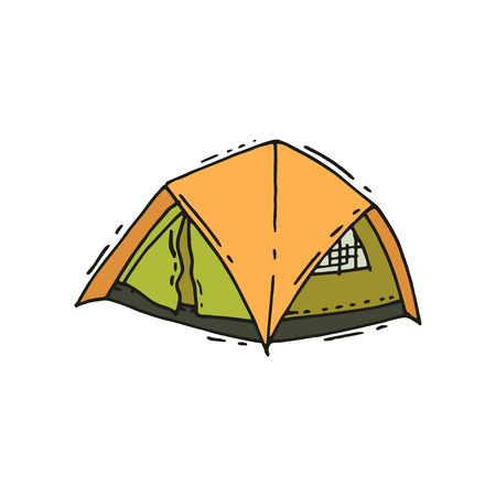 Green-orange tent camping tent in doodle style. Outdoor recreation. Tourist equipment. Summer adventure. Graphic element for travel poster. Colorful hand drawn vector icon isolated on white background Ilustrace