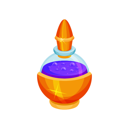 Round glass bottle with mana potion. Purple liquid. Magic elixir. Graphic element for fantasy mobile game. Colorful illustration in flat style isolated on white background. Cartoon vector design.