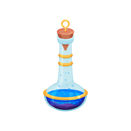 Icon of small bottle with bright blue potion. Glass flask with lid. Toxic liquid. Magic elixir. Game icon. Cartoon vector design. Colorful illustration in flat style isolated on white background.