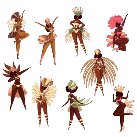 Set of Brazilian women in dancing action. Samba dancers. Latino girls in costumes with feathers. Brazil festival. Rio carnival. Cartoon characters. Hand drawn vector isolated on white background.
