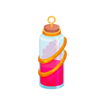 Cartoon icon of glass bottle with potion. Small vial with bright pink liquid. Magic elixir. Graphic element for mobile game or children book. Flat vector illustration isolated on white background.