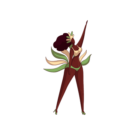 Carnival girl in dancing action. Beautiful Brazilian woman in bikini with feathers and headdress. Cartoon character. Samba dancer. Trendy hand drawn vector illustration isolated on white background.