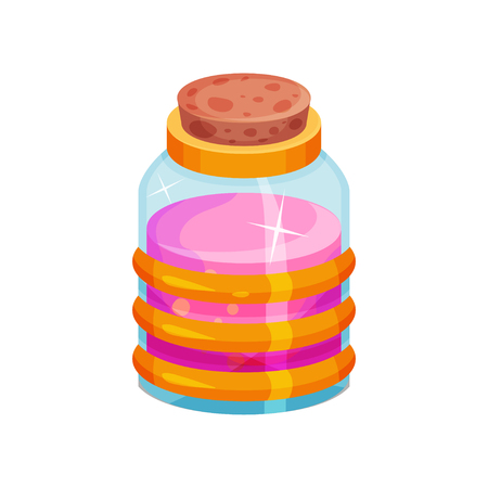 Small glass bottle with potion. Container with cork and pink liquid. Graphic element for mobile game or children book. Cartoon vector design. Colorful flat illustration isolated on white background. Illustration