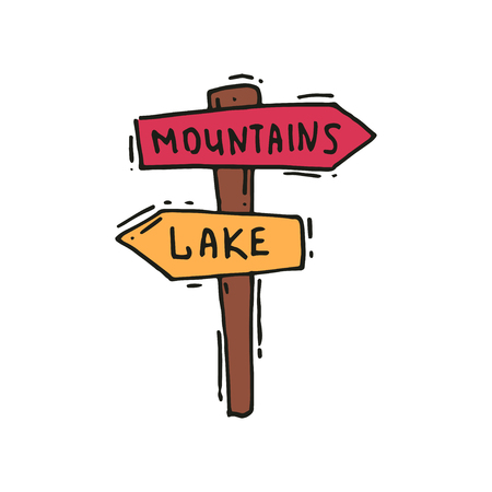 Hand drawn icon of wooden arrow sign post, mountains to the right, lake to the left. Outdoor adventure. Road signpost. Camping and hiking theme. Vector in doodle style isolated on white background.