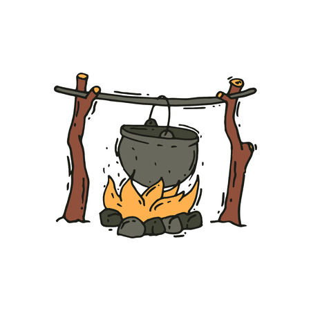 Hand drawn illustration of metal pot over the campfire. Outdoor cooking. Hiking bowler pot on fire. Summer recreation. Camping theme. Colorful vector icon in doodle style isolated on white background.