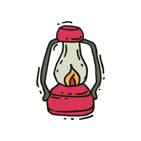 Pink vintage lantern with glowing fire wick in doodle style. Retro gas lamp. Camping equipment. Graphic element for mobile game. Hand drawn vector icon. Illustration isolated on white background.