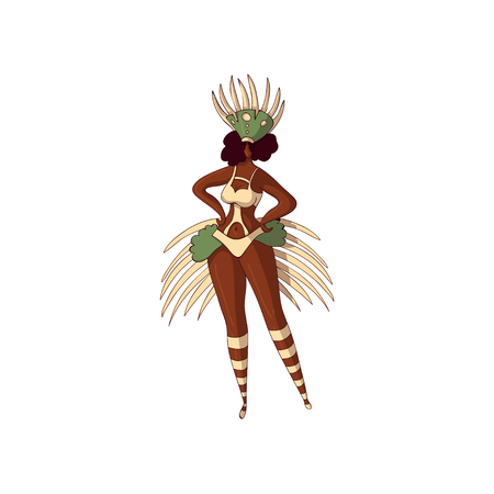 Abstract illustration of Brazilian girl. Young Latino woman in bikini and headdress with feathers. Rio carnival. Samba dancer. Cartoon character. Hand drawn vector design isolated on white background.