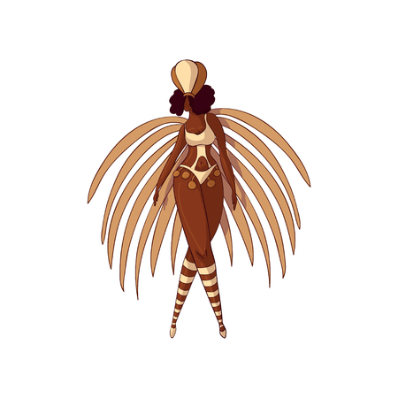 Beautiful carnival girl in bikini with feathers and headdress. Brazilian samba dancer. Young Latino woman. Cartoon character. Brazil festival. Hand drawn vector design isolated on white background.