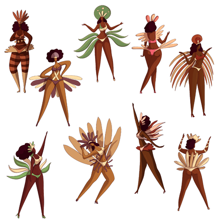 Set of beautiful Brazilian girls in dancing action. Samba dancers. Young Latino women in bikini with feathers. Brazil festival. Cartoon characters. Hand drawn vector isolated on white background.