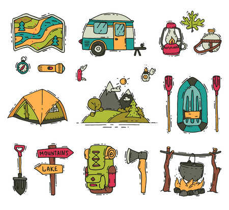Collection of camping and hiking objects in doodle style. Tourist equipment. Outdoor recreation. Summer adventure. Travel supplies. Hand drawn vector illustrations isolated on white background.