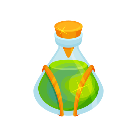 Icon of small bottle with green magical potion. Glass container with orange lid. Magic elixir. Graphic element for children book. Cartoon vector design. Flat illustration isolated on white background.