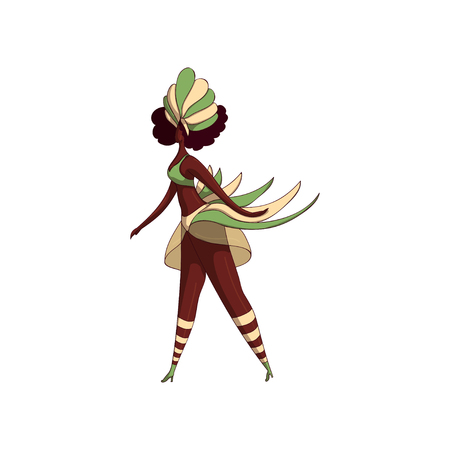 Latino woman in dancing action. Brazilian samba dancer. Girl in bikini and headdress with feathers. Brazil festival. Cartoon character. Hand drawn vector illustration isolated on white background. Ilustrace
