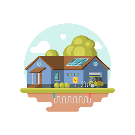 Illustration of eco-friendly house, electric car charging at garage. Geothermal power. Clean energy sustainable home. Graphic design for website. Colorful flat vector icon isolated on white background Imagens - 124882693