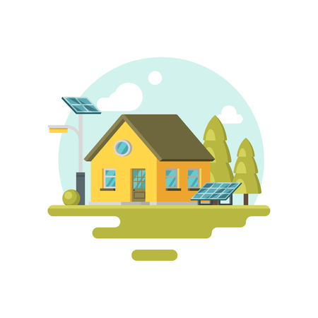 Icon of cute yellow eco house with solar panels and trees near by. Alternative energy. Family home. Graphic element for promo banner or poster. Colorful flat vector design isolated on white background Vettoriali