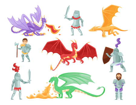 Set di cavalieri corazzati e grandi draghi. Mitici mostri. Guerrieri coraggiosi. Personaggi dei cartoni animati. Elemento grafico per gioco per cellulare o libro per bambini. Disegno vettoriale piatto isolato su sfondo bianco. Vettoriali