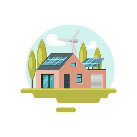 Modern eco-friendly house with solar panels on roof and wind turbine. Alternative energy. Residential building. Green world. Colorful vector illustration in flat style isolated on white background. Imagens - 124882696
