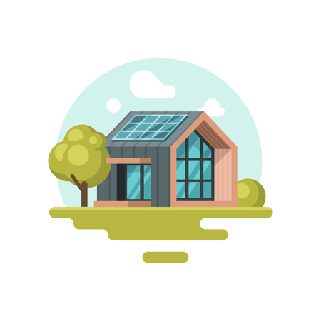 Colorful illustration of modern eco-friendly house with solar panel on roof. Renewable energy. Residential building. Go green. Cartoon vector design. Icon in flat style isolated on white background.