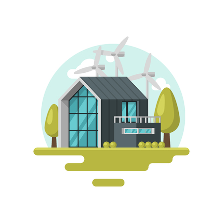 Illustration with modern living house, wind turbines, green trees and bushes. Eco-friendly residential building. Renewable energy. Colorful vector icon in flat style isolated on white background.