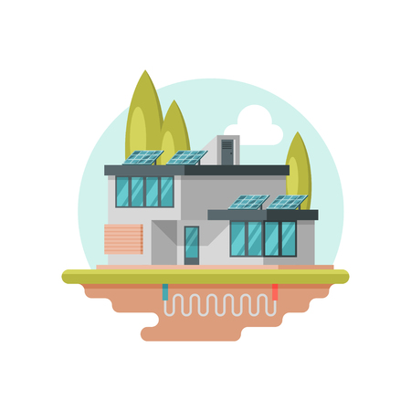 Modern eco-friendly house with solar panels on roof. Contemporary residential building. Geothermal power. Alternative energy. Colorful vector illustration in flat style isolated on white background. Imagens - 124882699