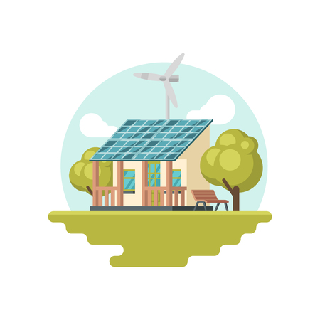 Small traditional house with solar panel on roof and wind turbine. Eco-friendly building. Alternative energy. Graphic element for website or promo poster. Isolated vector illustration in flat style. Illustration