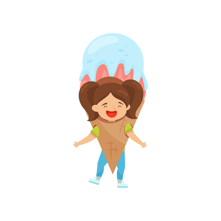 Laughing little girl with ponytails in ice-cream costume. Outfit for carnival or Halloween. Funny kid. Child with happy face expression. Colorful flat vector illustration isolated on white background. Illustration