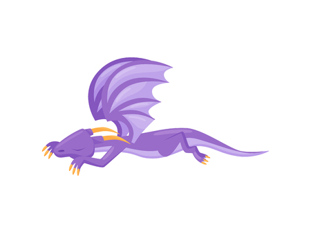 Cute purple dragon sleeping on the ground. Mythical monster with horns, big wings and long tail. Flat vector design Ilustração