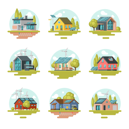 Flat vector det of modern and traditional eco-friendly houses. Residential buildings with solar panels, wind turbines