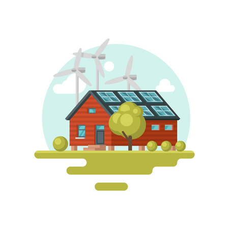 Large living house with solar panels on roof and wind turbines. Eco-friendly building. Clean world. Graphic element for poster of real estate agency. Flat vector design isolated on white background. Standard-Bild - 124882709