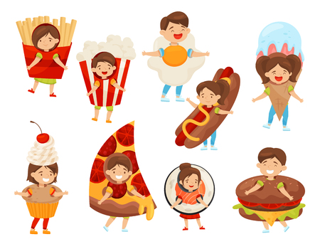 Set of kids in food costumes. Cute boys and girls with happy face expressions. Children in carnival outfit. Fast food. Funny cartoon characters. Flat vector illustrations isolated on white background.