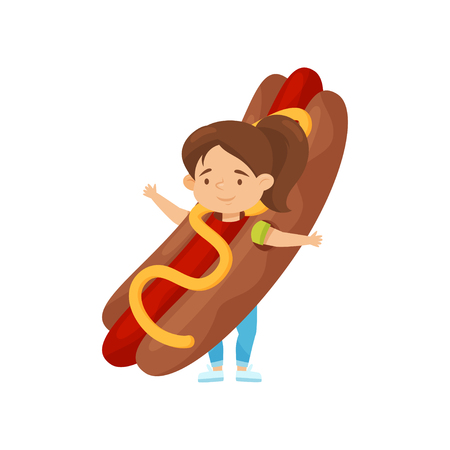 Adorable little girl in costume of hot dog. Junk food. Cute child with smiling face expression. Flat vector design Illustration