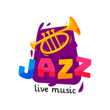 Bright logo for jazz live concert. Original music badge with golden trumpet and colorful text. Flat vector design Illustration