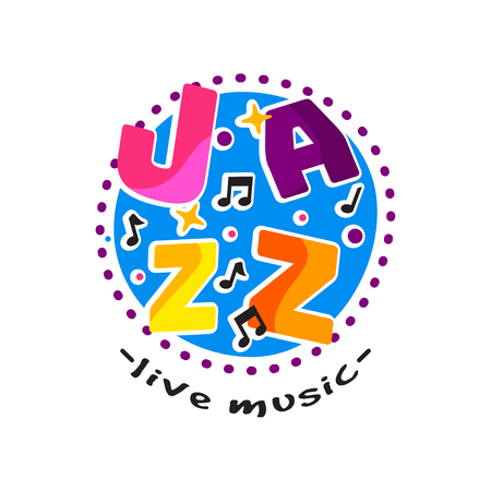 Abstract round-shaped logo for jazz live concert. Emblem with text, musical notes and stars. Flat vector design