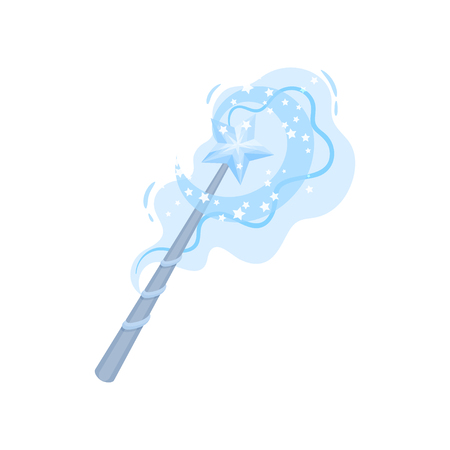 Cartoon icon of magic wand with blue star and bright sparkles. Stick with magical power. Witchcraft theme. Graphic element for mobile game. Colorful flat vector design isolated on white background.