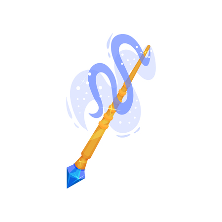 Illustration of golden magic wand with blue gemstone and dust. Stick with magical glow. Witchcraft theme. Graphic element for fantasy book. Colorful flat vector icon isolated on white background.