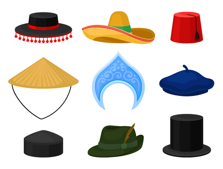 Collection of various national headdress. Mexican sombrero, Tyrolean hat, fez, French beret, Russian kokoshnik. Traditional headwear. Male and female accessories. Isolated flat vector illustrations.  イラスト・ベクター素材