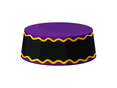 Illustration of purple-black kufi hat. Traditional round-shaped African cap for men. Male headdress. Fashion theme. Cartoon vector design. Colorful icon in flat style isolated on white background.