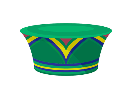 Green zulu hat with bright ornament. African traditional headdress for women. Fashionable female accessory. Cartoon vector design. Colorful illustration in flat style isolated on white background.