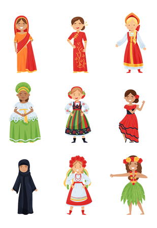 Set of cute girls in different national costumes. Smiling kids wearing traditional clothes of various countries. Cartoon female characters. Colorful flat vector design isolated on white background.