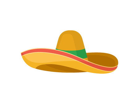 Classic brown straw sombrero with red and green stripes. Traditional Mexican headdress. Broad-brimmed hat. Fashion theme. Colorful vector illustration in flat style isolated on white background.
