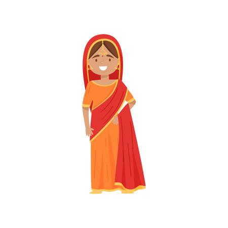 Cute smiling girl in Indian national costume. Cartoon female character wearing bright red-orange sari dress. Traditional women garment. Colorful flat vector illustration isolated on white background.  イラスト・ベクター素材