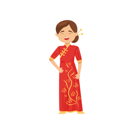 Beautiful laughing girl in national costume of China. Cartoon female character in bright red dress. Traditional Chinese clothes. Colorful vector illustration in flat style isolated on white background Banque d'images - 124809721