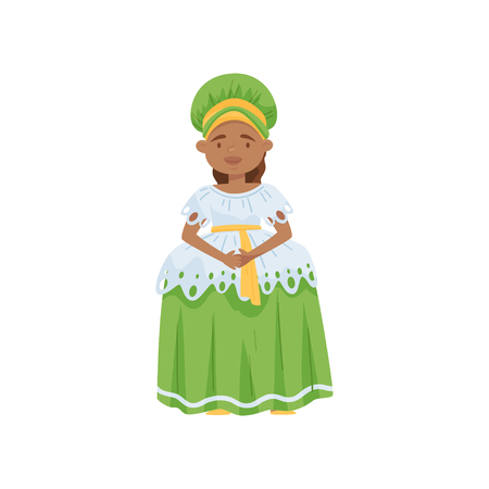 Cute smiling girl wearing Brazilian national dress. Traditional clothing of Brazil. Cartoon female character. Fashion theme. Colorful vector illustration in flat style isolated on white background.